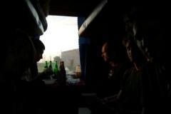 im Abteil mit Konrad, André und zwei anderen Passagieren