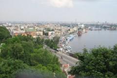 Blick auf das Podil (die Unterstadt) und den Hafen